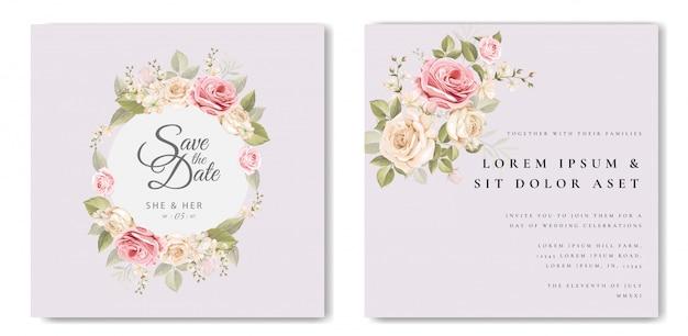 Красивая свадебная открытка с цветочным узором и листьями Premium векторы