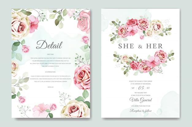Свадебная открытка и пригласительный билет с красивым розовым шаблоном Premium векторы