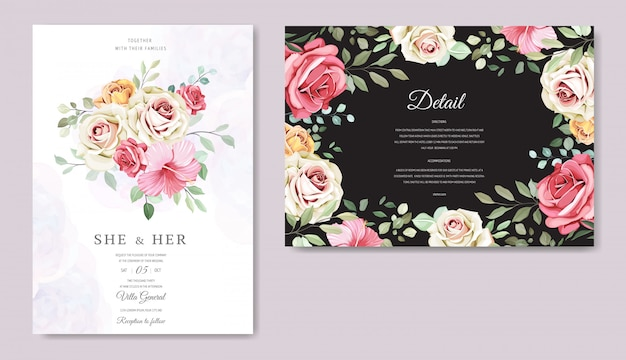 美しい花のテンプレートのウェディングカード Premiumベクター