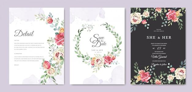 Свадебная открытка с орнаментом из цветов и листьев Premium векторы