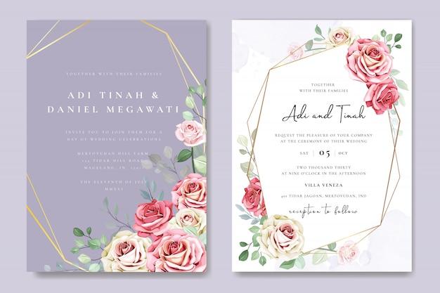 Красивый шаблон приглашения свадебные карточки с цветами и листьями Premium векторы