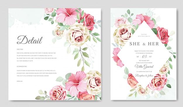 花の花輪を持つ美しい結婚式の招待カード Premiumベクター