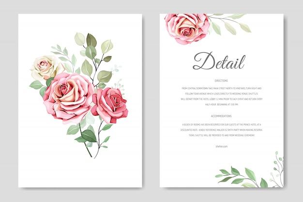 Красивая свадебная пригласительная открытка с цветочным венком Premium векторы