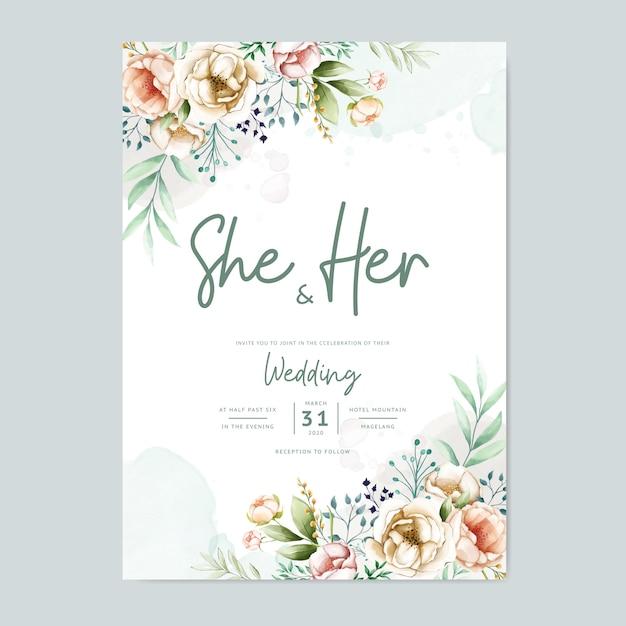 Свадебные приглашения с прекрасными акварельными цветами шаблон Premium векторы