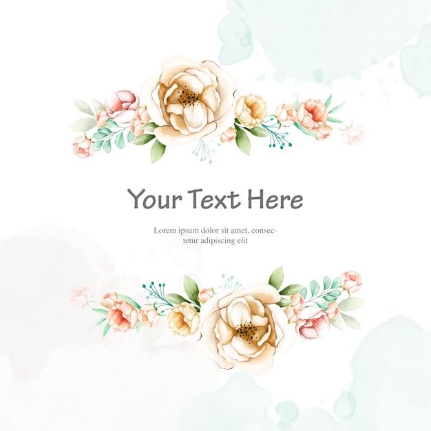 Красочное свадебное приглашение с акварельной цветочной рамкой Premium векторы