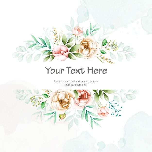 水彩花のフレームとカラフルな結婚式の招待状 Premiumベクター