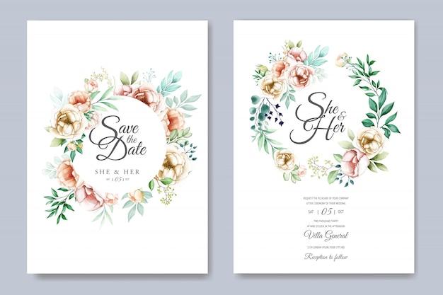 Цветочные свадебные приглашения шаблон с акварельными цветами Premium векторы
