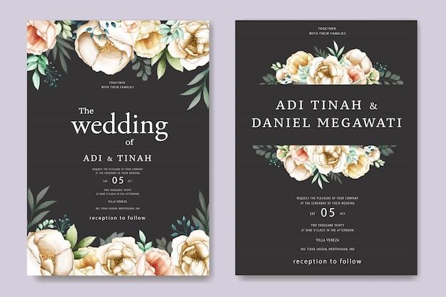 Свадебное приглашение с милыми акварельными цветами Premium векторы