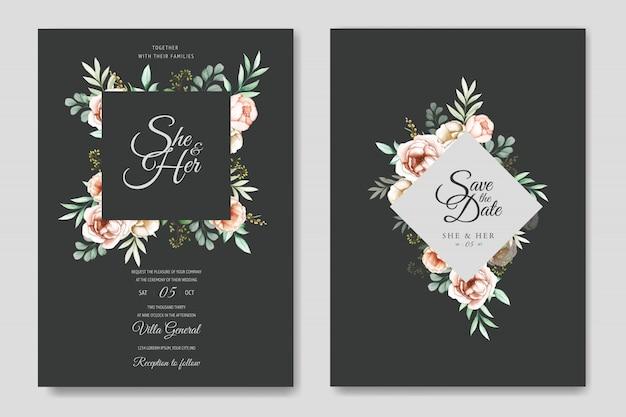 カラフルな水彩花の結婚式の招待状のテンプレート Premiumベクター