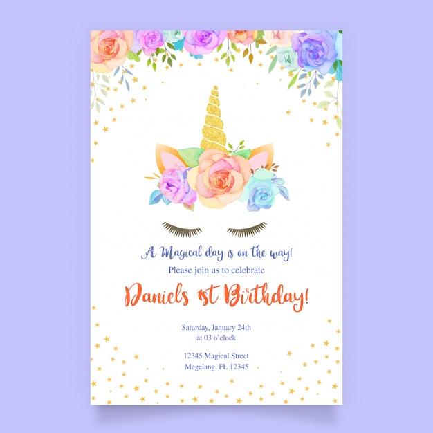ユニコーンとピンクの花のバースデーカード Premiumベクター