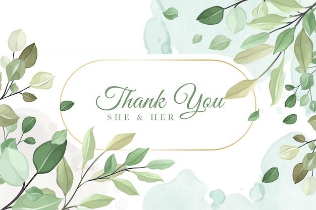 緑の葉でありがとう結婚式の招待カード Premiumベクター