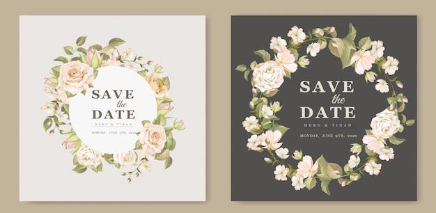 エレガントな花の結婚式の招待カードのテンプレート Premiumベクター