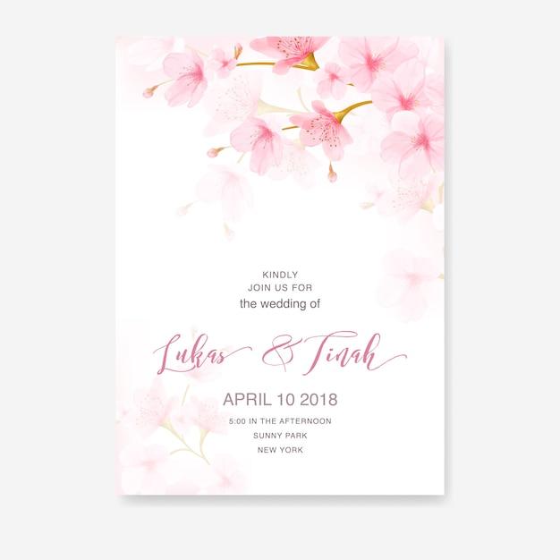 水彩花桜のフレームベクトル Premiumベクター