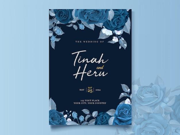古典的な青い花と葉を持つエレガントなウェディングカードテンプレート 無料ベクター