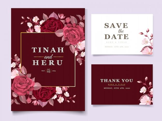 Элегантный шаблон свадебной открытки с темно-бордовым цветком и листьями Бесплатные векторы