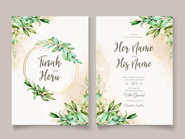 美しい水彩葉結婚式カードテンプレート 無料ベクター