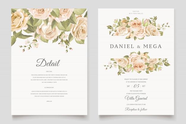 花と葉を持つ美しい結婚式招待状カードのテンプレート Premiumベクター