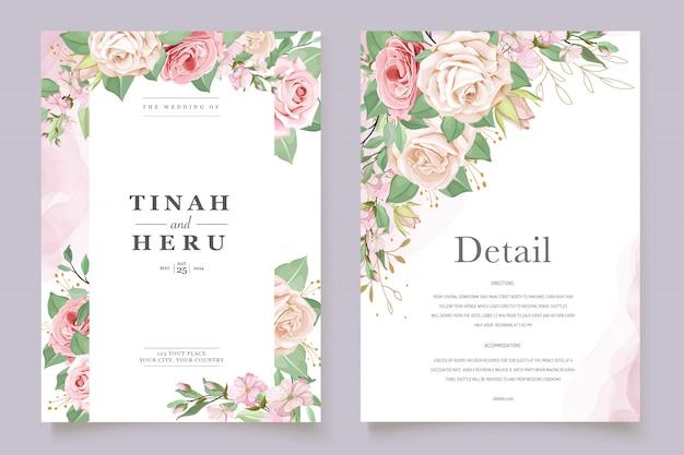 Шаблон свадебной открытки с красивым цветочным венком Бесплатные векторы