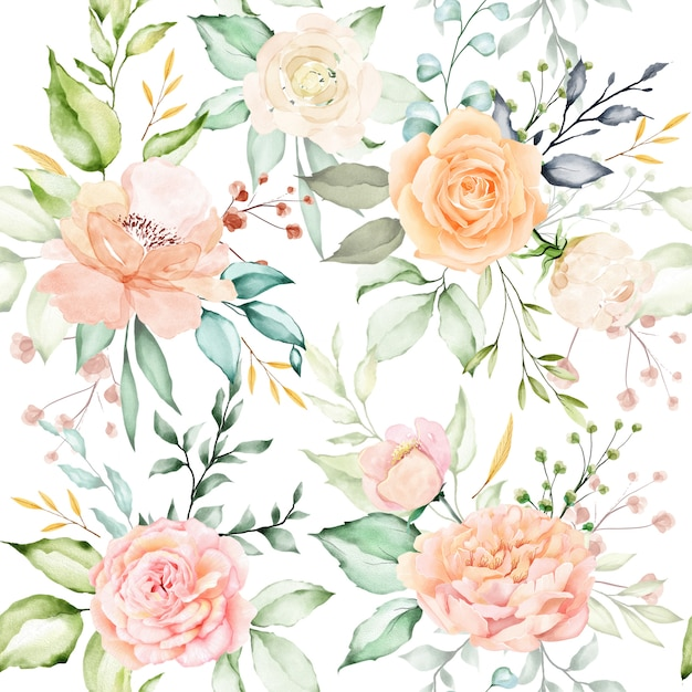 水彩花柄と葉のシームレスパターン Premiumベクター