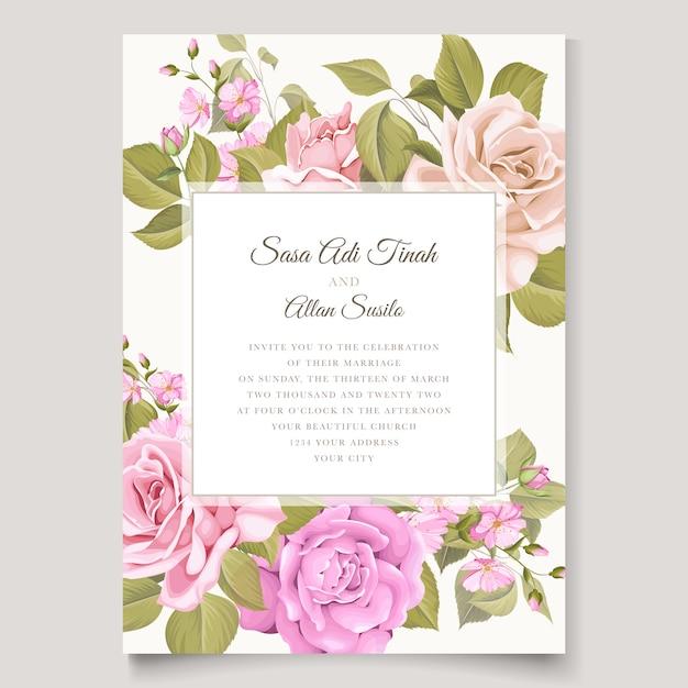 Свадебные приглашения цветочные и листья шаблон карты Бесплатные векторы