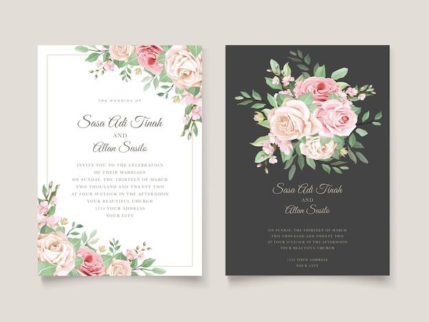 エレガントな結婚式の招待カードテンプレート 無料ベクター