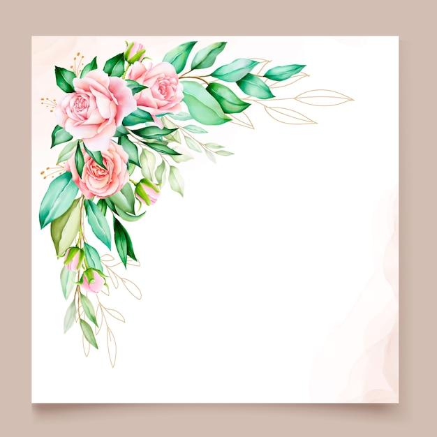 花の境界線を持つエレガントな招待状カードテンプレート 無料ベクター