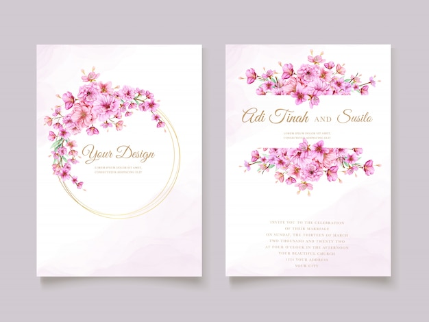 エレガントな水彩画の桜の招待カードテンプレート 無料ベクター
