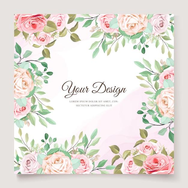 Шаблон приглашения красивые розы Бесплатные векторы