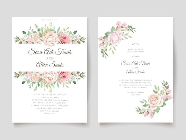 美しいバラの招待カードテンプレート 無料ベクター