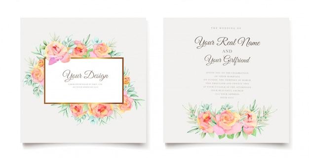 Элегантные цветочные акварельные свадебные приглашения Бесплатные векторы
