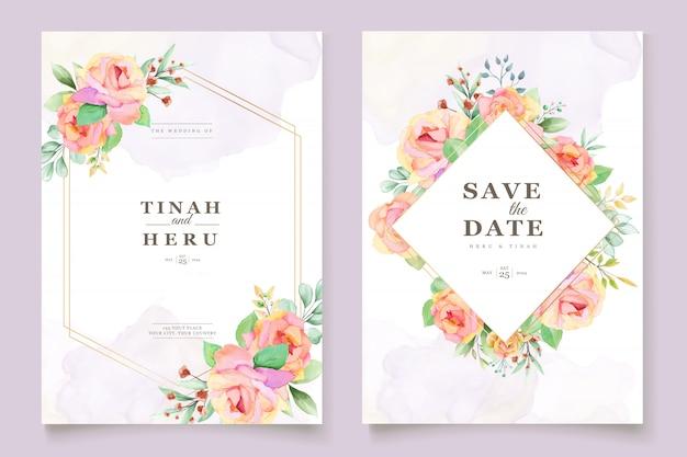 エレガントな花の水彩画の結婚式の招待カード 無料ベクター