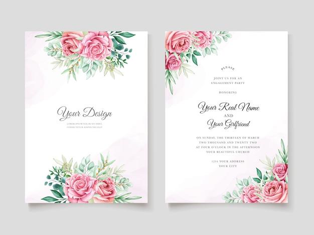 花の水彩画の結婚式の招待状のテンプレート 無料ベクター