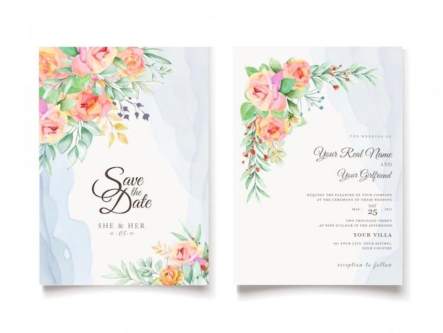 Акварель цветочные свадебные приглашения дизайн карты Бесплатные векторы