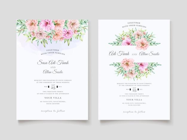 Элегантный акварельный цветочный дизайн свадебного приглашения Бесплатные векторы