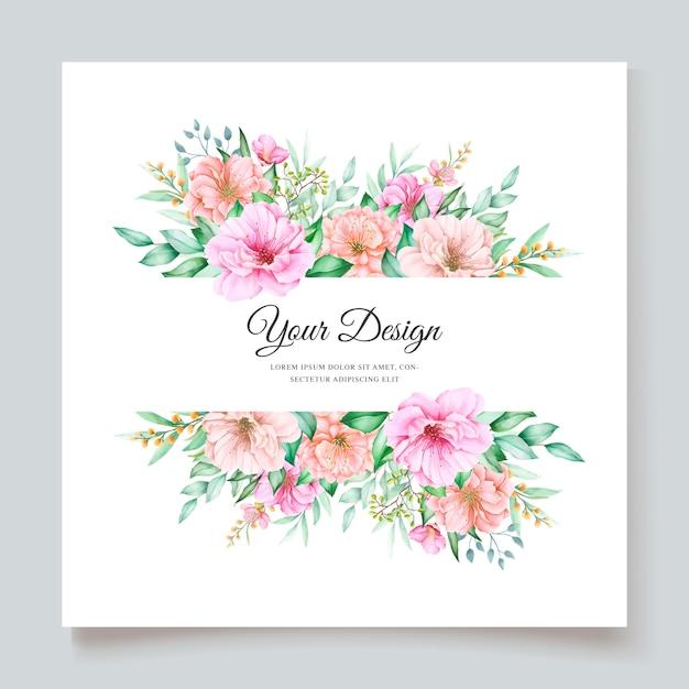 エレガントな水彩画の花の結婚式の招待状のデザイン 無料ベクター