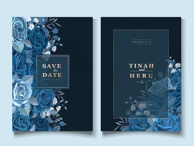 Элегантный пригласительный билет с классическим синим цветочным шаблоном Бесплатные векторы