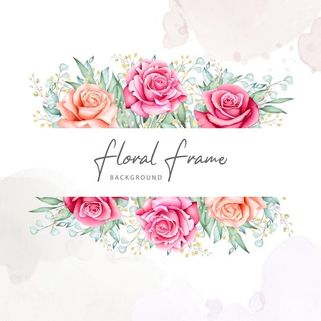 花の花束フレーム水彩画コレクション Premiumベクター