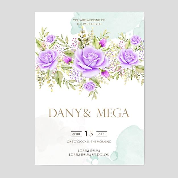Красивая свадебная открытка с акварельным фоном Premium векторы