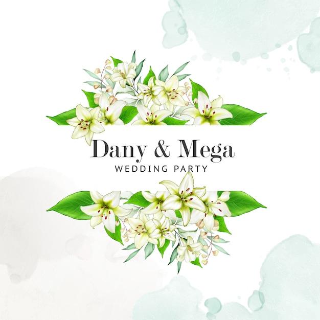 花の結婚式の招待状のテンプレート Premiumベクター