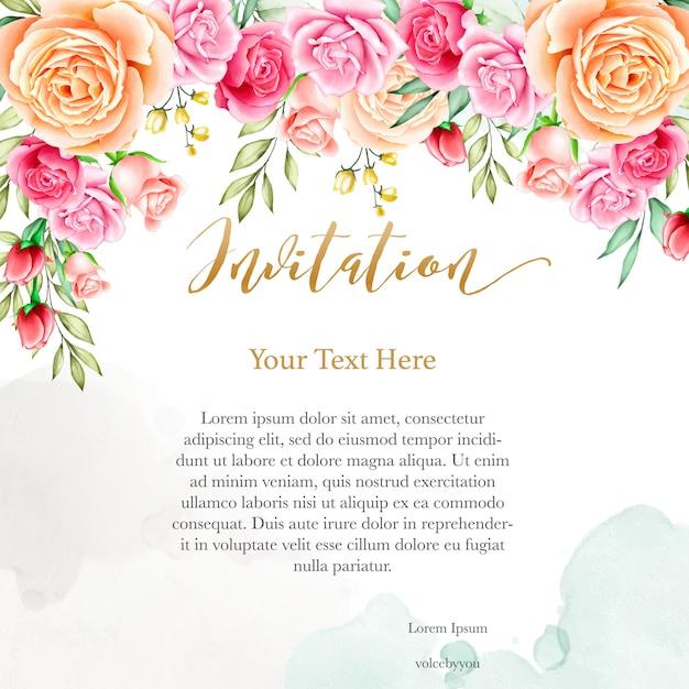 水彩画の花のテンプレートとの結婚式の招待状の背景 Premiumベクター