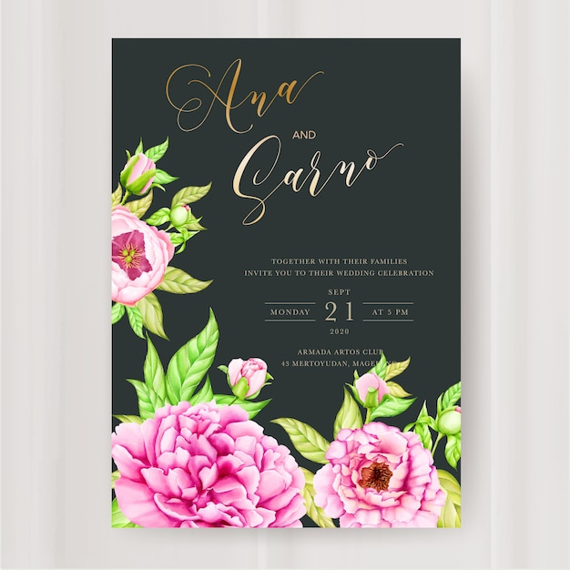 水彩牡丹の花の結婚式の招待状のテンプレート Premiumベクター