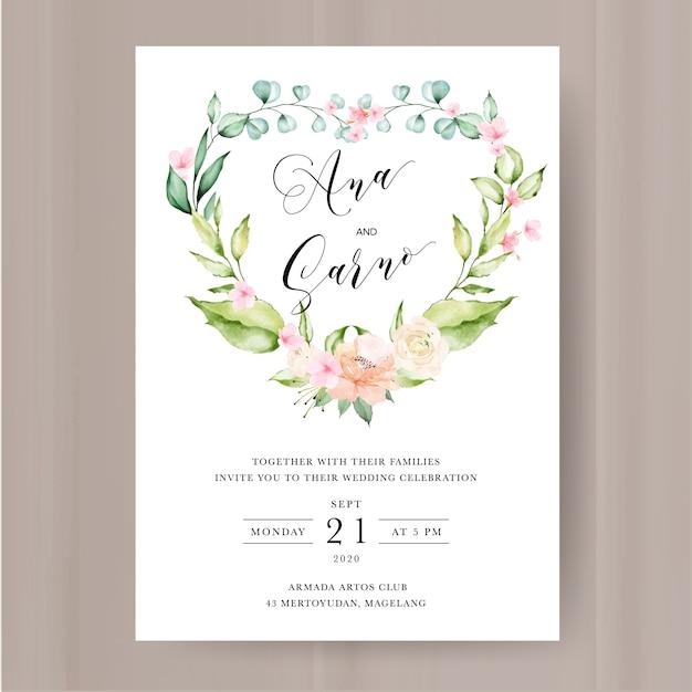 水彩花と葉の結婚式の招待状のテンプレート Premiumベクター