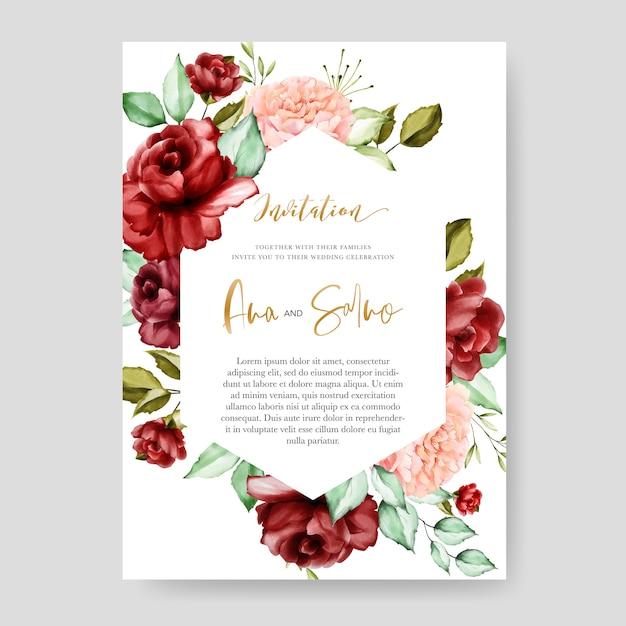 結婚式の招待カードテンプレート、水彩画の花柄のデザイン Premiumベクター