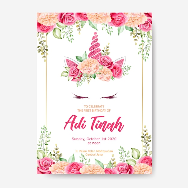 誕生日の招待状カードのテンプレート、花の花輪を持つかわいいユニコーングラフィック Premiumベクター