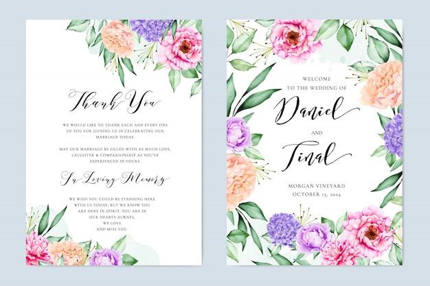 エレガントな花の結婚式の招待状カードデザイン Premiumベクター