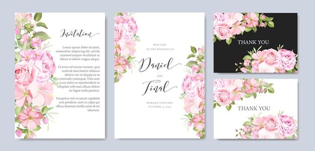 Красивая свадебная и пригласительная открытка с рамкой из цветов и листьев Premium векторы