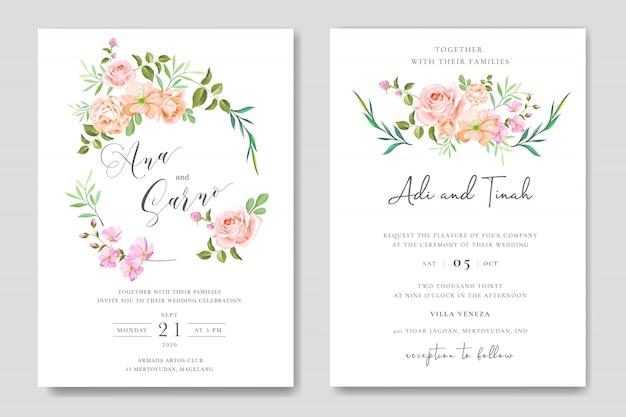 花の花輪を持つ花の結婚式の招待カードテンプレート Premiumベクター