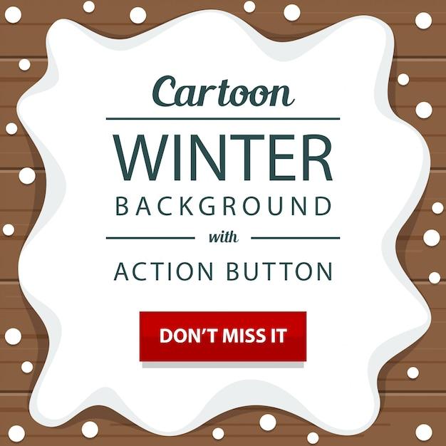 冬、雪、木製、アクション、ボタン、バナー、テンプレート Premiumベクター