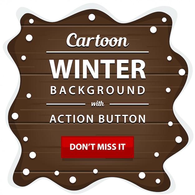 雪のパイルフレームの枠のバナーと冬の木製のボード Premiumベクター