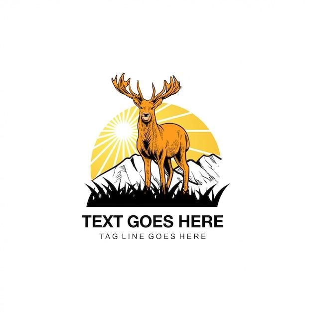 鹿のイラストロゴ Premiumベクター